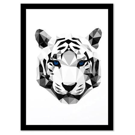 Geometric Animals - TIGER HEAD, Framed Print, 21x27.94cm