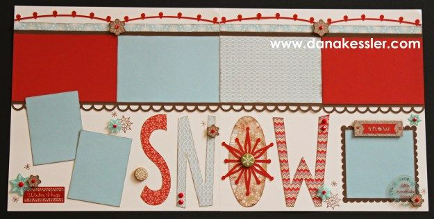 Two Page Scrapbook Layout White PInes Christmas Holidays Winter Snow…