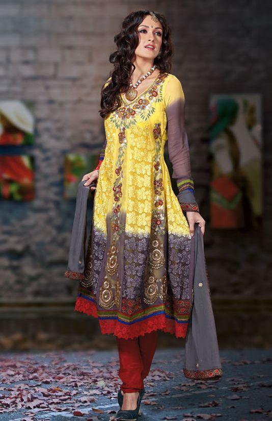 Deep Yellow and Grey Faux Georgette Churidar Kameez Set