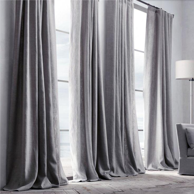 遮光カーテン 北欧カーテン グレー 無地柄 麻&綿 3級遮光カーテン(1枚)