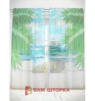 Заказать фототюль «Пальмовый пляж » с индивидульным размером, с креплениями на…