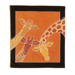 Wall Hangings ~ Animal Kingdom Designs  Small Square $35.00 USD  Multi-purpose wall hanging decorated with beautiful giraffe design, painted in rich terracotta and earth tones. Hemmed all around with full-width pocket along top edge for hanging pole. Can also be used as a Tablecloth or throw.