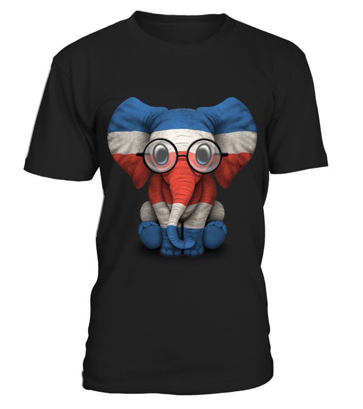 Baby Elephant with Glasses and Costa Rican Flag  Funny Baby T-shirt, Best Baby T-shirt