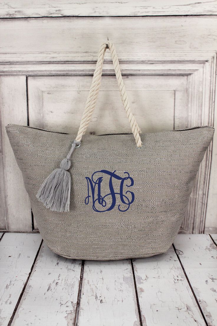 Metallic Silver Tote Bag with Tassel #B552-SLV