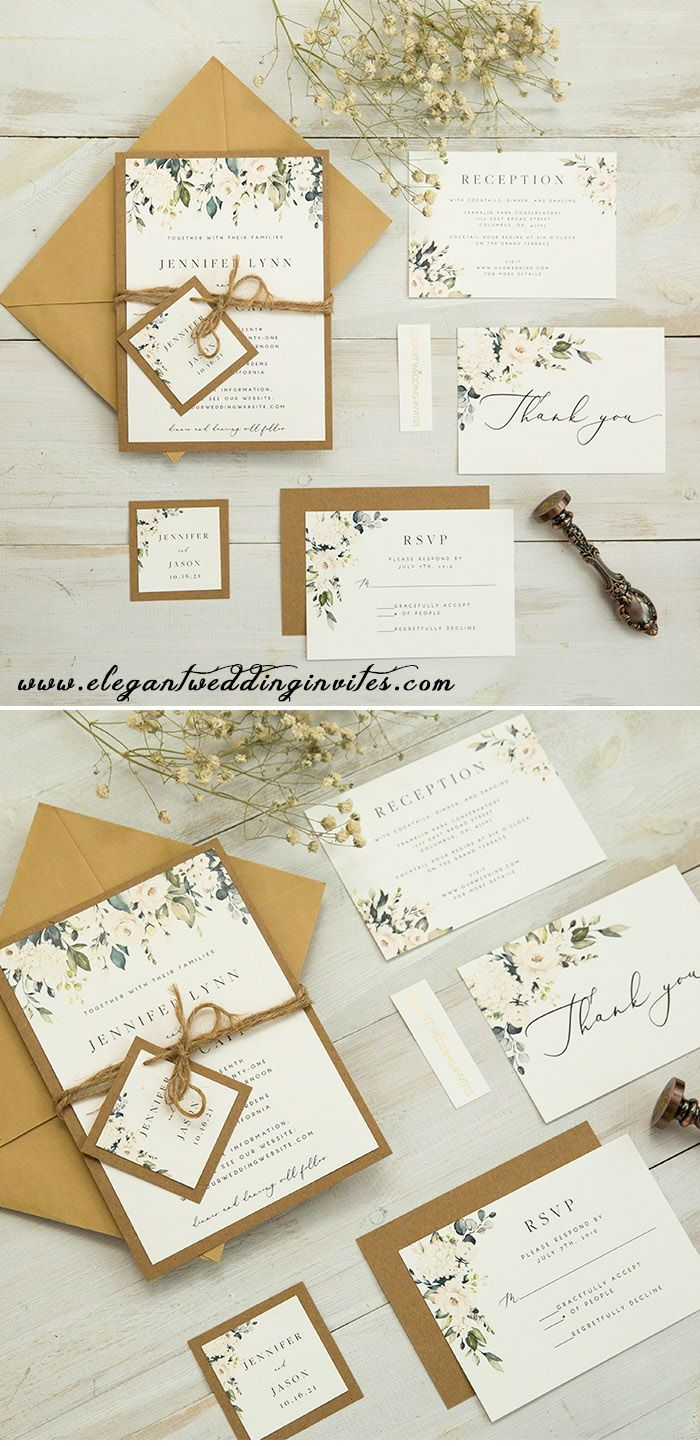 Rustic Greenery Wedding Invitation With Earth Toned Kraft Backing Card Ewis008 Wedding Invitations Rustic Greenery Wedding Invitations Wedding Invitations