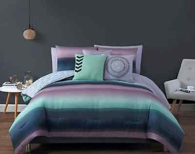 Bedding Queen or King Size Comforter Sets Girls Purple and Navy Blue Sheets 10PC