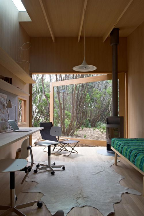 Indoor-outdoor, cabin, home office- how's this for inspiring?