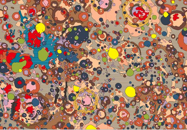 Art or Science? - map of the dark side of the moon, with different colors corresponding to geological materials and phenomena
