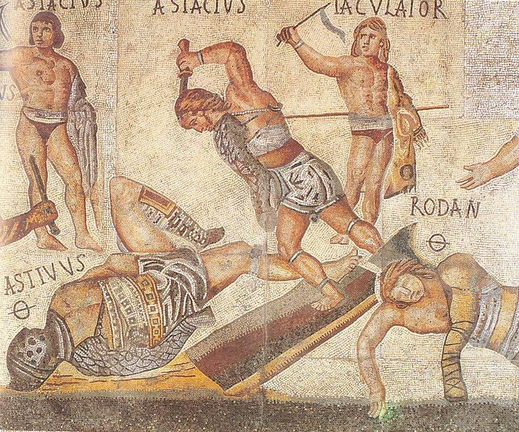 Detail of gladiators from the Villa Borghese mosaic. All are wearing armor or weapons, but some have short tunics and others are wearing only loincloths.