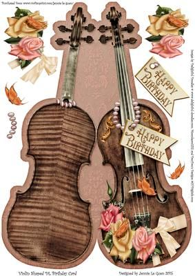 Violin Shaped DL Birthday Card on Craftsuprint - Add To Basket!