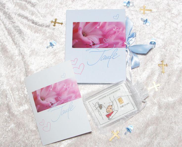 1g Gold zur Taufe Junge in Geschenkbox mit Glückwunschkarte und Streudeko hellblaue Schnuller & Kreuze