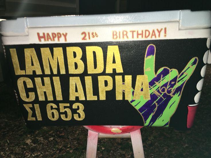 Lambda chi alpha painted cooler
