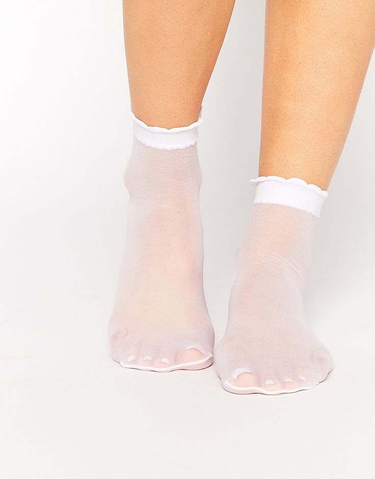 Image 1 ofASOS Sheer Ankle Socks With Scallop Top