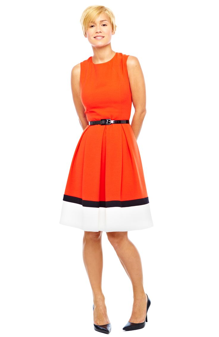 liz claiborne belted dress -- this would be a great game day dress (go vols!) since its so hard to find nice orange clothes