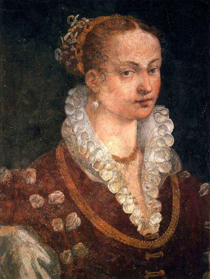 c.1580 - Portrait of Bianca Cappello, Second Wife of Francesco I de' Medici  afresco - Galleria degli Uffizi, Florence