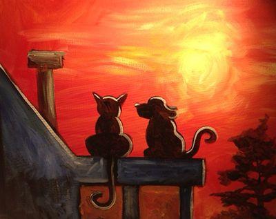 Cat Amp Dog Sunset Paint Nite Baltimore Dog Paintings