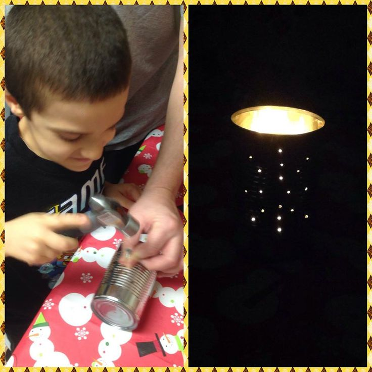 Wolf cub requirement 5e - make something useful. A tin can lantern! @The Cub Scouts  Thanks @Scouter Mom !!