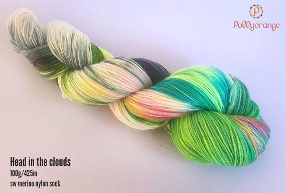 Head in the clouds hand dyed superwash merino nylon by Pollyorange