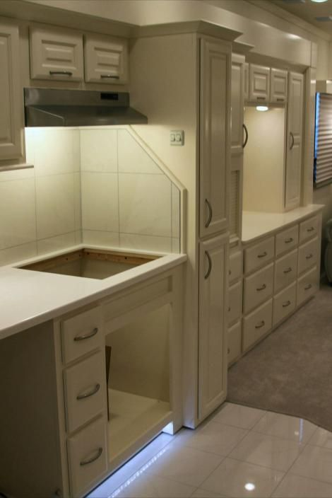 Painting everything creamy white makes an RV seem cleaner & more spacious