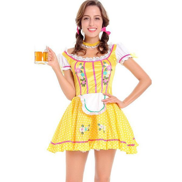 Yellow Beer Girl Maid Dress Cosplay Costume ($28) ❤ liked on Polyvore featuring costumes, yellow, white costumes, cosplay maid costume, role play costumes, yellow costumes and tavern maiden costume