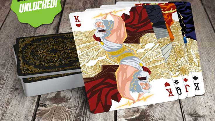 Epic playing cards with gods from the World of Mythology game. Cello-wrapped premium quality 310 gsm, linen cardstock, special varnish!