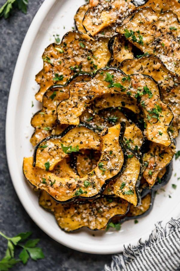 Herb Roasted Parmesan Acorn Squash Recipe In 2020 With Images