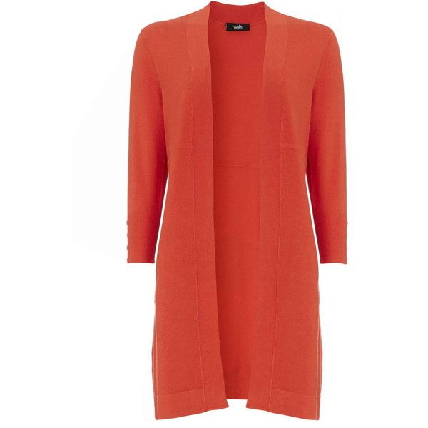 Wallis Orange Long Line Cardigan ($35) ❤ liked on Polyvore featuring tops, cardigans, orange, orange top, loose tops, open front cardigan, layered tops и long line cardigan