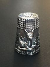 <b>Vintage 925 Sterling Silver</b> Deer in Relief Thimble | Silver Portugal ...