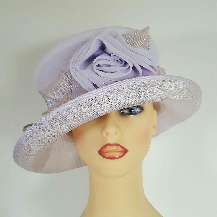 Ladies Wedding Hat Races Mother Bride Ascot Pale Mauve Lined Cappelli Condici