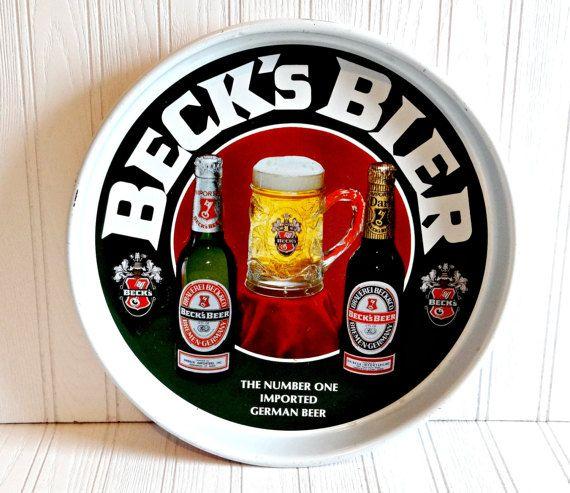 Vintage Becks Bier Metal Serving Tray by TimelessTreasuresbyM on Etsy