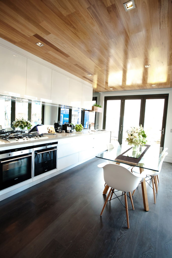 Freedom Kitchens The Block 2012 Shitake - love the wooden ceiling but would have charcoal floor tiles