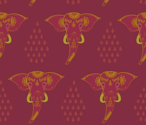 elephant with henna on purple fabric by jennifer_todd on Spoonflower - custom fabric