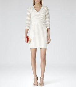 Womens White Mesh-detail Bodycon Dress - Reiss Cheryl