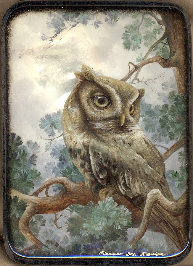 'Night Owl' (artist unknown):  this is a Russian lacquer box that uses the Fedoskino lacquer painting technique