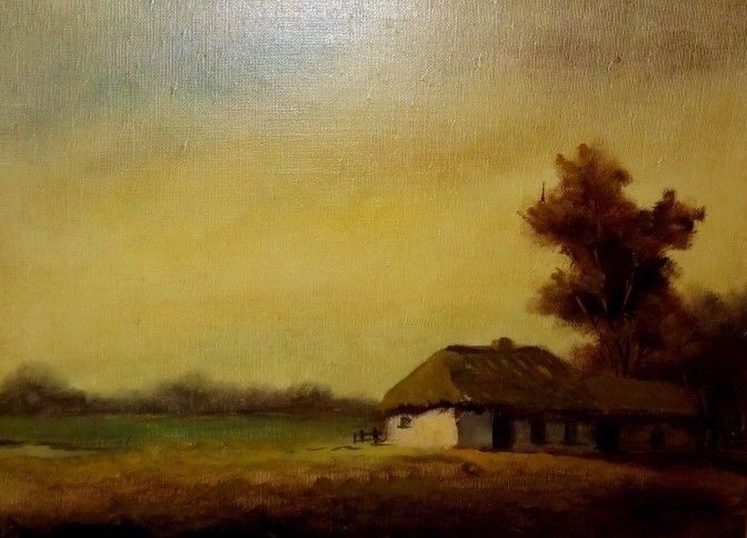 G. Conhag : Meadow landscape at the farm in the evening