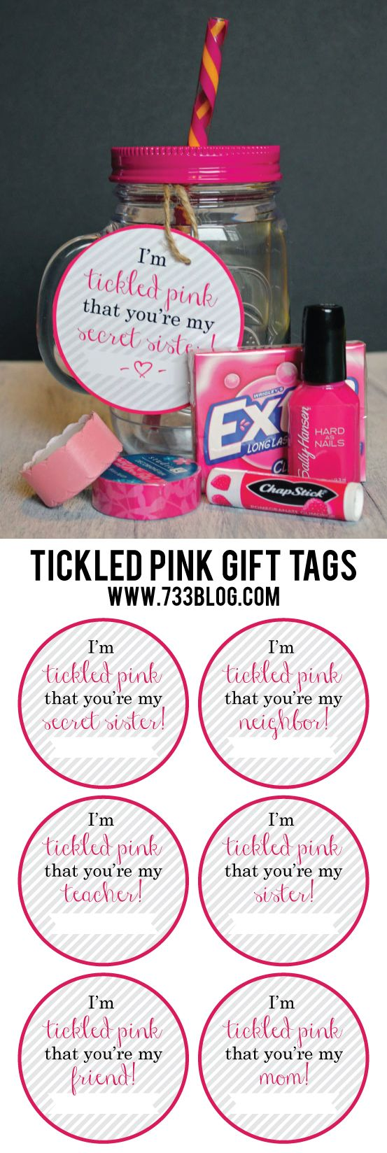 Tickled Pink Gift Idea with Free Printable Gift Tags for Mom, Teachers, Sisters and More!