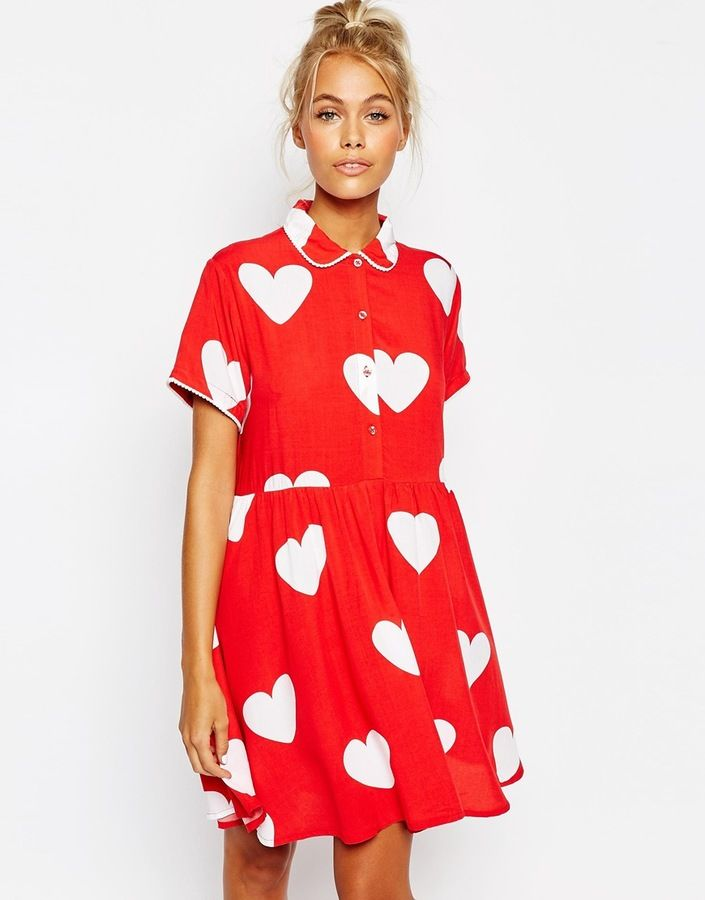 Lazy Oaf Button Front Shirt Dress With All Over Heart Print