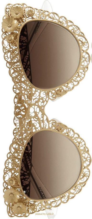 DOLCE  GABBANA Cat eye filigree gold-tone sunglasses