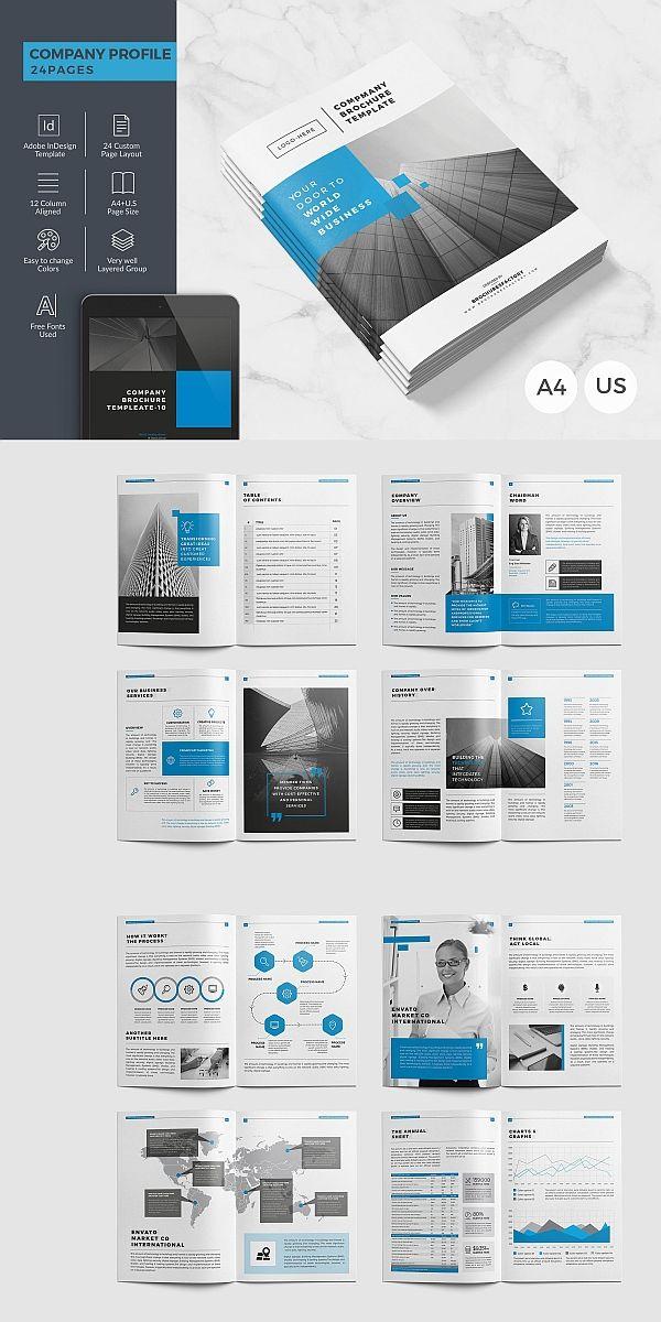 Company Brochure 24 Pages 보고서 디자인 레이아웃 카달로그 디자인