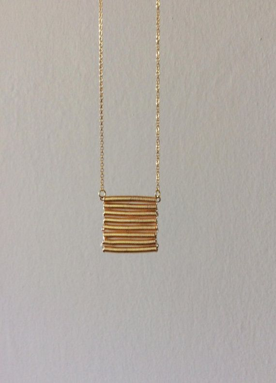 Fringe gold necklace hand twisted coil 925 silver by EliaLaNoire