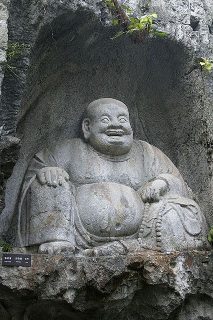 The happy Buddha, Lingyin Temple, Hangzhou, China Loved and Pinned by www.downdogboutique.com to our Yoga community boards