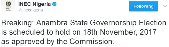 Anambra State Governorship Election To Hold November 18  http://ift.tt/2lLbPg6