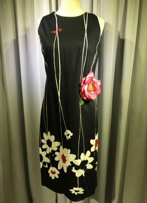 1960's Black cotton dress with white print/36-38