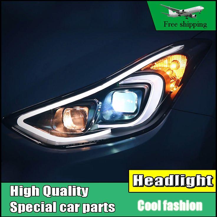 Car Styling Head Lamp Case For Hyundai ELANTRA 2012-2016 Headlights LED Headlight DRL High Low Bi-Xenon Lens Low Beam With HID