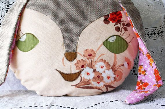 Bunny rabbit vintage fabric cushion pillow by Obelia Design on Etsy, $135.00