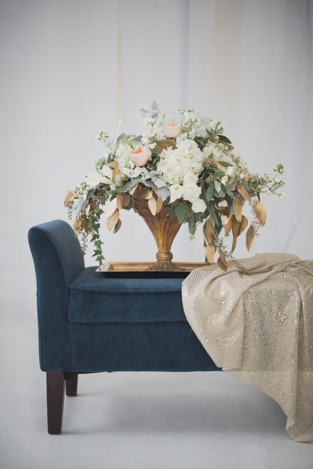 Gold, green, and white floral centerpiece | Bellamint Photography | http://burnettsboards.com/2014/01/royalty-themed-wedding/