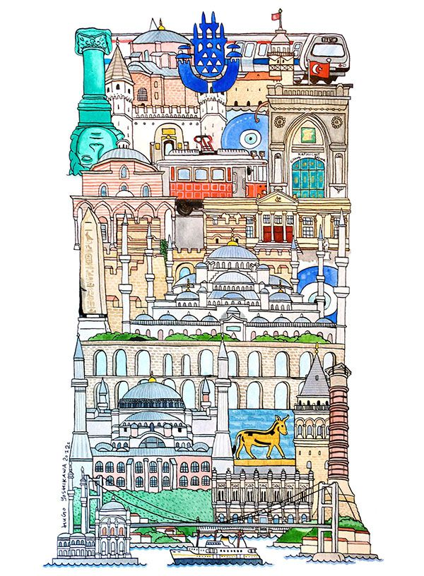 I, Istanbul (Turkey) - ABC illustration series of European cities - by Hugo Yoshikawa (Japanese illustrator)