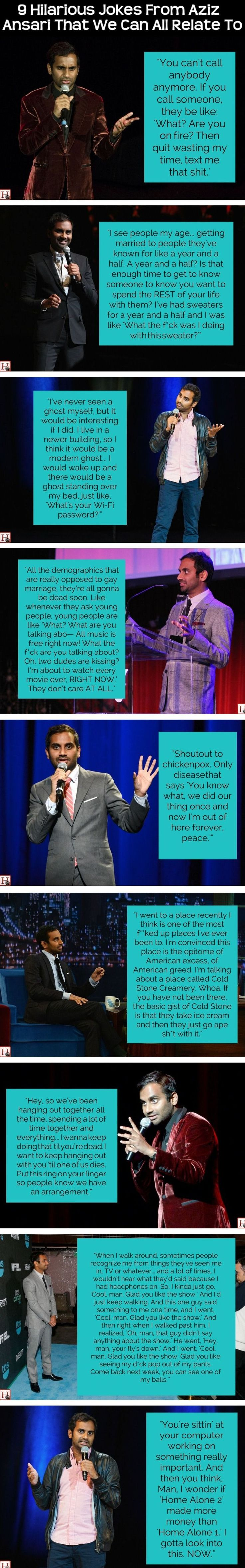 9 Hilarious Jokes From Aziz Ansari That We Can All Relate To