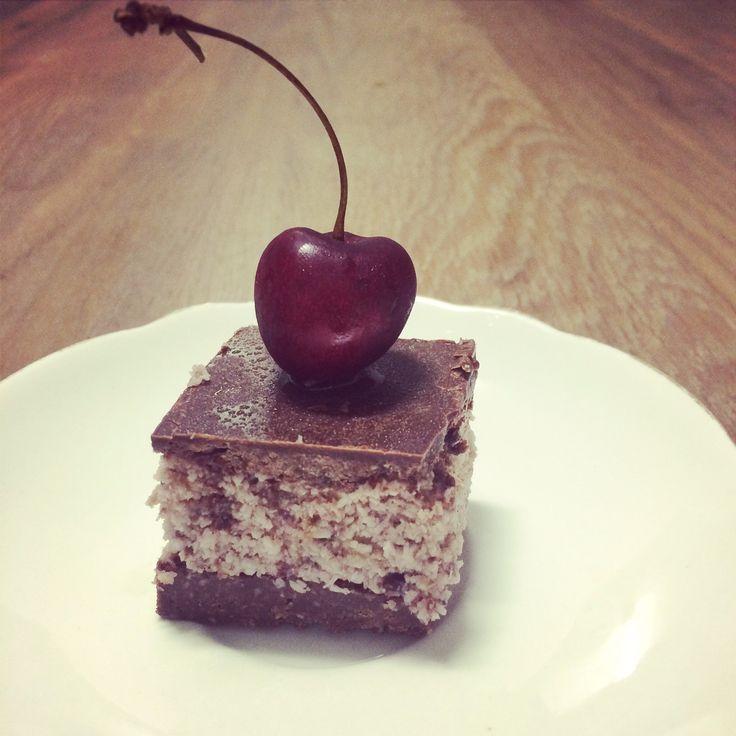 Raw cherry ripe slice