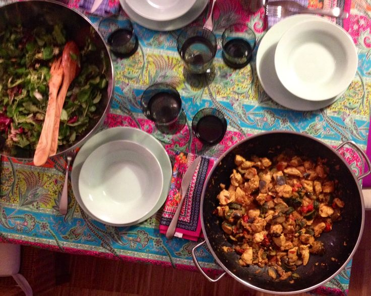 Pollo al curry con melanzane pomodorini e  zucchine